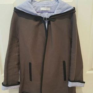 Zara Faux Leather Trim Coat