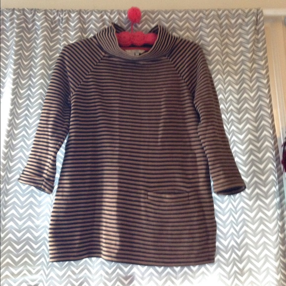 Boden striped sweater with funnel neck. Size 6