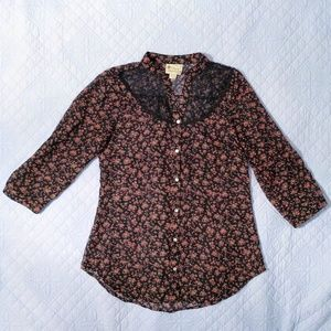 Pretty Rebellious Tops - Floral Sheer Tunic