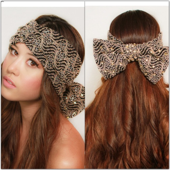 Kristin Perry Top Knot Headband Printed Black /& White