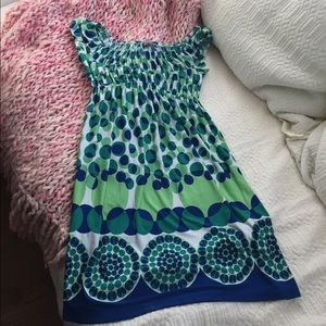 Muse Dresses & Skirts - Muse Green, Blue and White Ruched Dress
