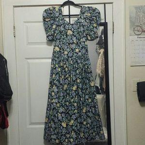 LAURA ASHLEY VINTAGE DRESS WITH V BACK