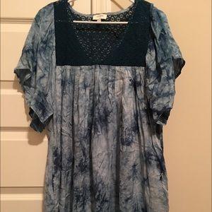 Umgee Large Blue Tie Dye Beach Coverup/Dress