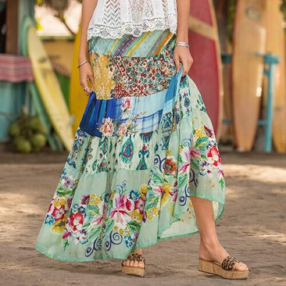 Johnny Was Skirts Sundance Silk Mercado Maxi Skirt S M Poshmark