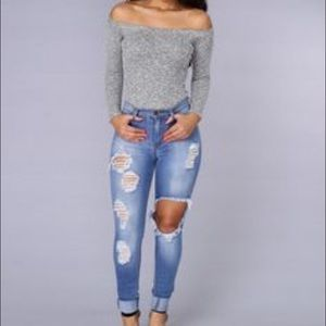 Fashion Nova Tops - Speckled grey bodysuit