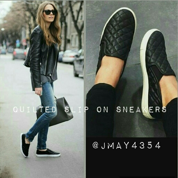 Black Quilted Slip On Sneakers | Poshmark