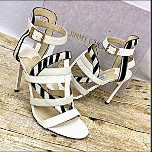 JIMMY CHOO NEW 8.5 White Black Sandals Heels