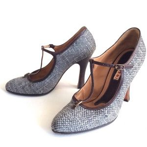 Marni Shoes - MARNI tweed T-Strap leather HEELS shoes 37 1/2