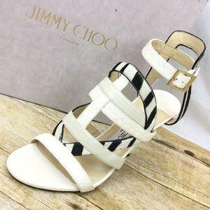 JIMMY CHOO NEW 8 Varina White Leather Heels Sandal