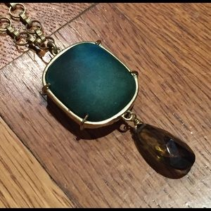 Jewelry - Gold Chain Necklace with Green Medallion