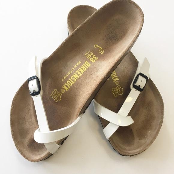 Birkenstock White 'Piazza' Flip Flop Sandals 38