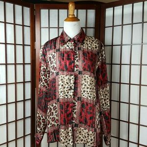 Notations Tops - NOTATIONS animal print Blouse Size L