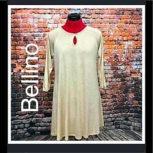 Bellino Clothing Tops - Bellino Oatmeal Keyhole Tunic