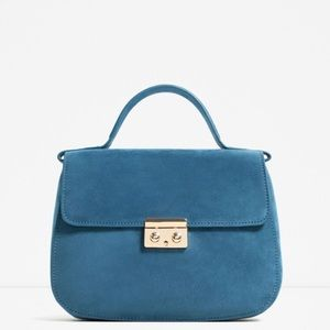 Zara Handbags - NWT Zara City Bag faux suede blue Cross body