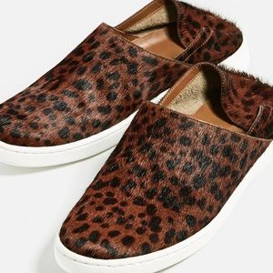 Zara Shoes - Zara Leopard Animal Leather Shoes Slip On Loafers