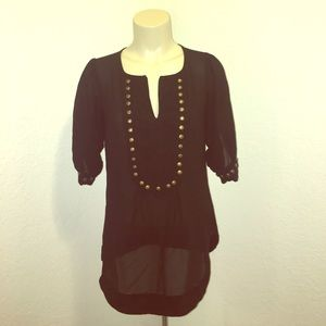 Angie Tops - Angie Black Sheer Blouse Top