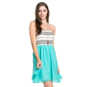 Jade Chiffon Tube Top Dress