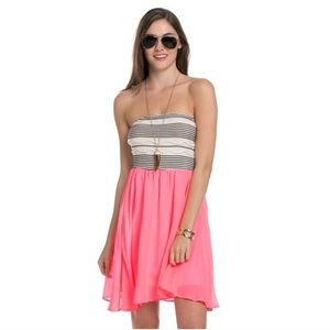 Pink Chiffon Tube Top Dress