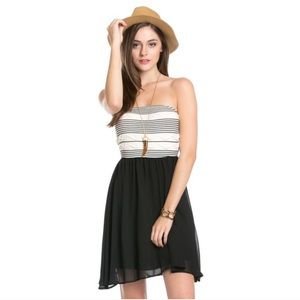 Black Chiffon Tube Top Dress