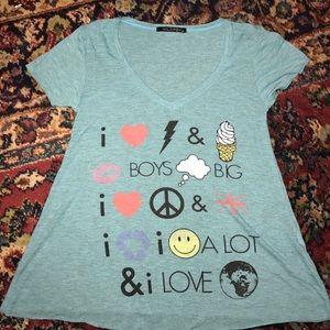 Wildfox v-neck emoji t-shirt XS