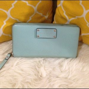 kate spade Handbags - Kate Spade Zip Around Wallet Mint Green