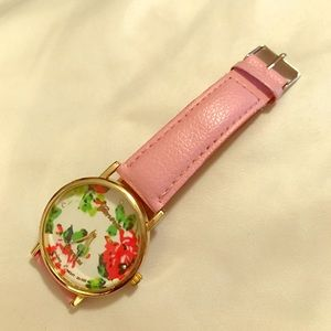 Geneva Platinum Accessories - Geneva watch floral dial pink leather band