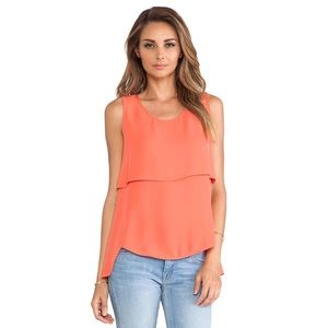 Theory Tops - Apala Tiered Silk Top in Coral