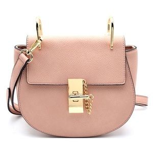 GlamVault Handbags - Blush Pebble Leather Saddle Bag & Gold Hardware