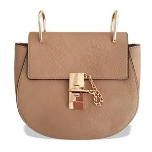 GlamVault Handbags - Taupe Saddle Bag with Goldtone Hardware