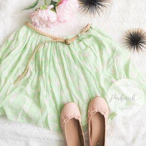 Green + White Floral Print Skirt