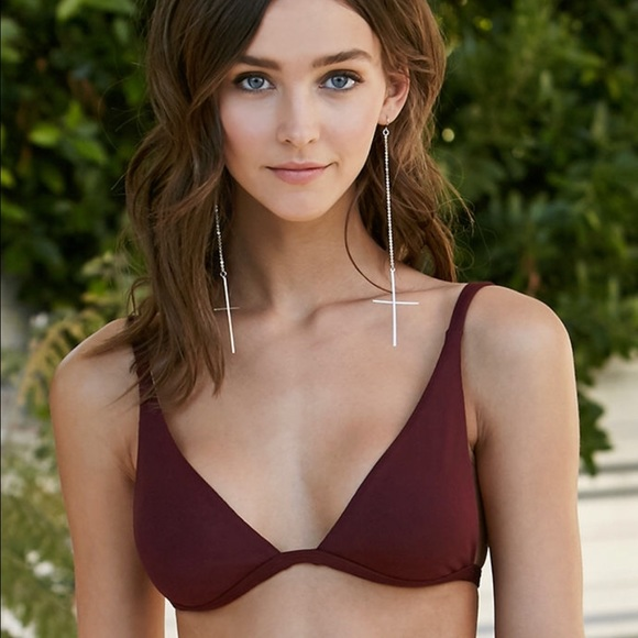 41b9281ec82b2 LA Hearts Swim | Wine Ribbed Fixed Triangle Bikini Top Sm | Poshmark