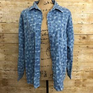 Lee Tops - Vintage Lee Floral Denim Shirt