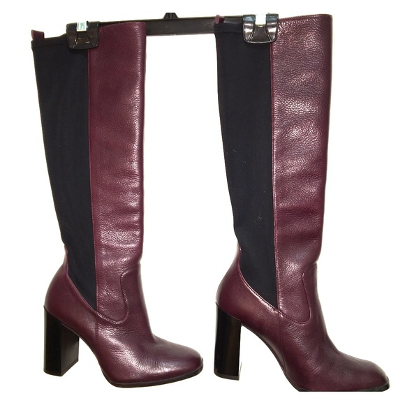 1957a5b5512 Zara burgundy leather knee high boots size 7