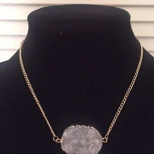 Light gray/white-colored druzy stone necklace