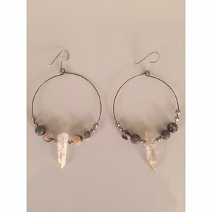 Gray/pink/white bead and stone hoop earrings