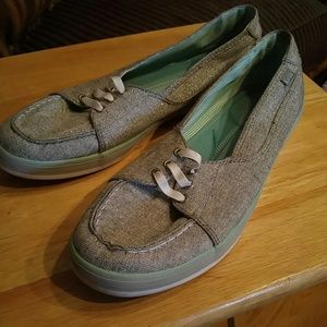 Keds Silver Sparkly Deck/Boat Shoes Worn 2x Sz 9