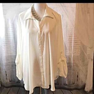 Curvy Couture Tops - Chiffon White Ling Sleeve Blouse NWT