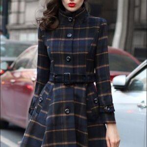 BB Dakota Jackets & Blazers - BB DAKOTA wool plaid zip trench grey black