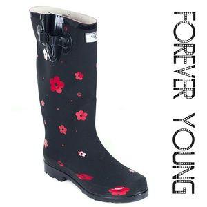 Women Tall Rainboots, #1521, Red Flower