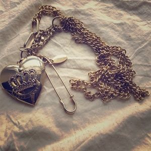 Necklace w/ photo locket heart pendant &safety pin