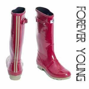 Forever Young  Shoes - Women Knee High Rainboots, #1536, Red