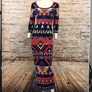 Flying Tomato Multi Color Maxi Sweater Dress