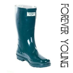 Women Mid Calf Rainboots, #1602, Forest Green