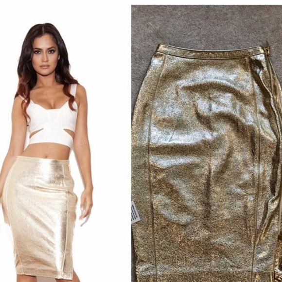 d3e901a278d NWT House of cb metallic leather pencil skirt