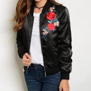 Floral Embroidered Black Bomber Jacket