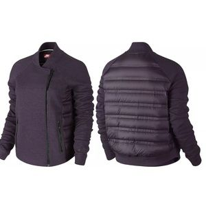 Nike Jackets & Blazers - Nike Tech Aeroloft Purple Fleece Down Moto Jacket