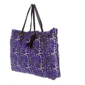 Lanvin Handbags - Lanvin Purple & Black Woven Tote w/Grosgrain Trim