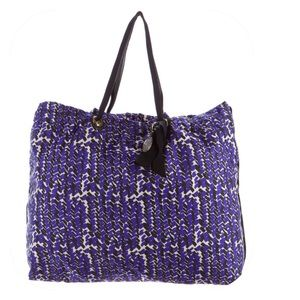 Lanvin Handbags - Lanvin Purple & Black Woven Tote w/Grosgrain Trim
