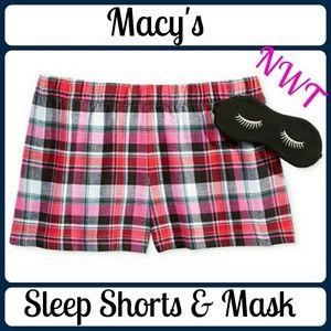 Macy's Other - NEW Printed Boxer Pajama Shorts & Eye Mask Set