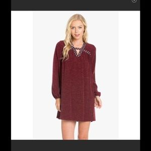 Wine Embroidered Heather Knit Dress
